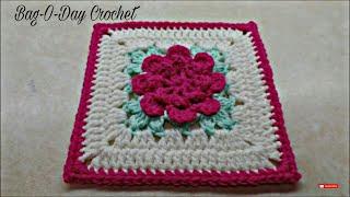 3582c639930952 CROCHET How To #Crochet Rose Flower Granny Square Revised in HD #TUTORIAL  #303