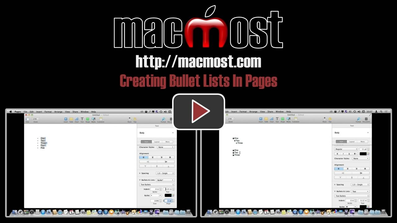 Creating Bullet Lists In Pages 1016 Youtube