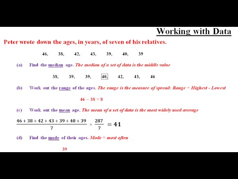 Functional Skills Maths Level 2 - Mean, Median, Range and Mode