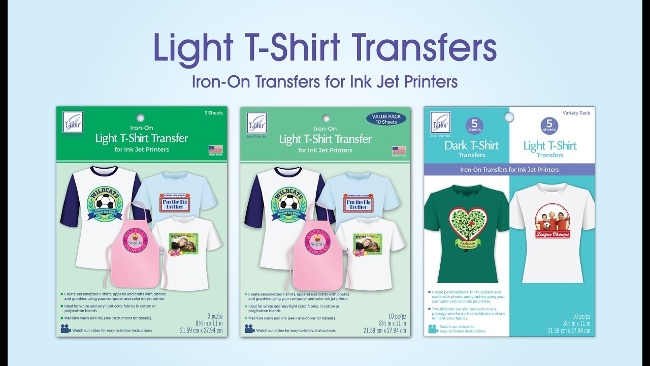 Light T-Shirt Transfers for Ink Jet Printers