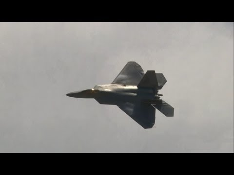 2014 Rhode Island ANG Open House & Airshow - F-22 Raptor Demo & USAF Heritage Flight