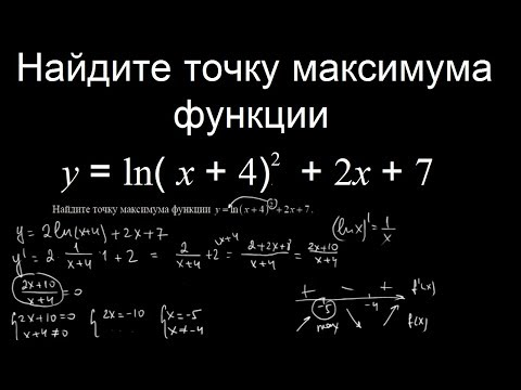 Найдите точку максимума функции y ln x 4 2 2x 7 видео урок