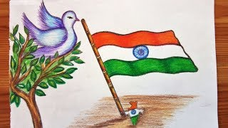 How to draw and paint Indian Flag giving message of peace