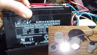 Как сделать свет от аккумулятора, подключить светодиод к аккумулятору, свет на даче(Полезные видео с моего канала, о ремонте велосипеда. 1) Задняя втулка колеса обслуживание https://www.youtube.com/watch?v=..., 2014-12-17T21:49:49.000Z)