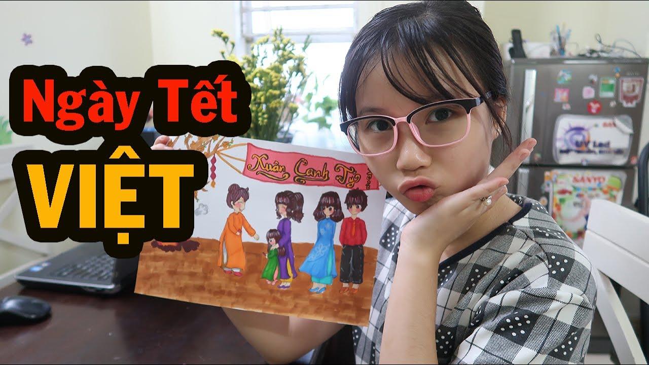 Vẽ Mỹ Thuật lớp 6 | Bé CIU vẽ Anime hoạt cảnh gia đình Việt Nam ngày giáp Tết dễ thương nhất quả đất