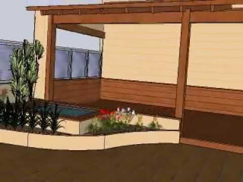 Dise o de porche estanque y jardineras en terraza de for Jardineras para patio casa