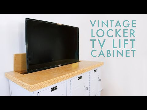 TV Lift Cabinet from Lockers | DIY Media Cabinet | Modern Builds
