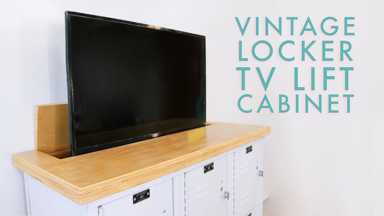tv lift cabinet from lockers diy media cabinet modern. Black Bedroom Furniture Sets. Home Design Ideas