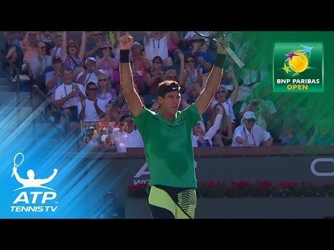 Amazing Juan Martin del Potro hot dog/tweener lob   2017 Indian Wells Day 4