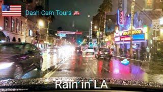 Dash Cam Tours 🚘 Night Driving in the Rain through Hollywood, California,  USA