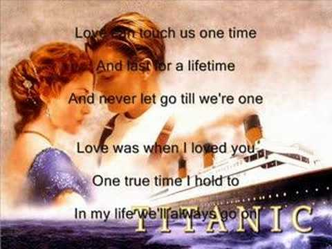 Titanic with text.