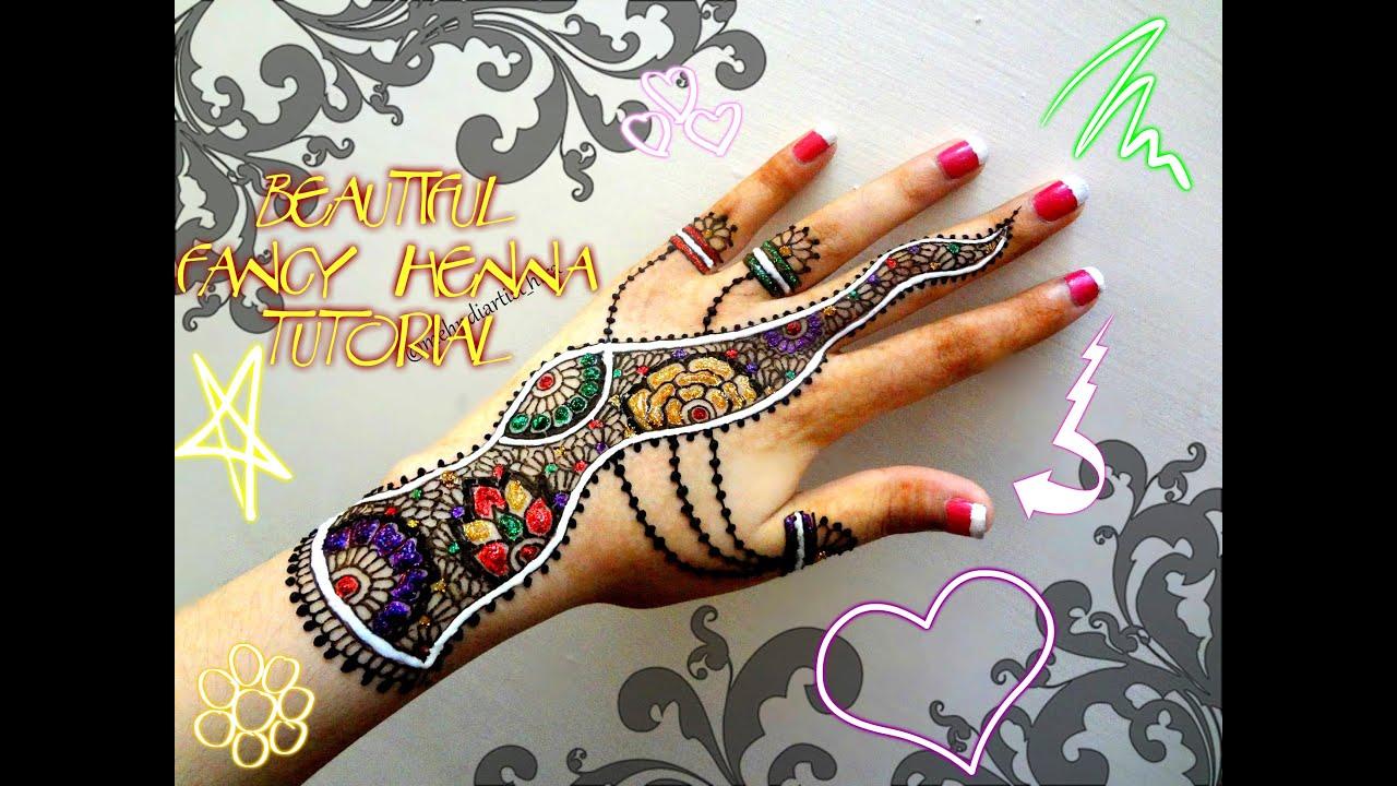 Fancy Mehndi Design: Easy Simple Fancy Glittery White Henna Combo Mehndi