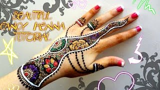 Easy Simple Fancy Glittery White Henna Combo Mehndi Designs For