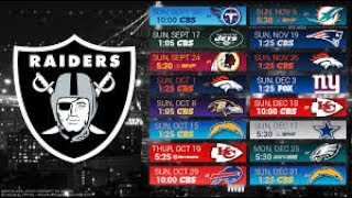Oakland Raiders 2017 NFL Schedule Predictions/Outcomes
