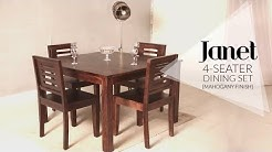 Janet 4 Seater Dining Table Set in Mahogany Finish at Wooden Street