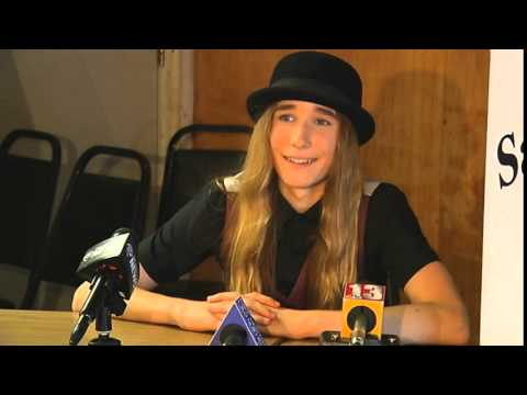 Sawyer Fredericks talks with the media