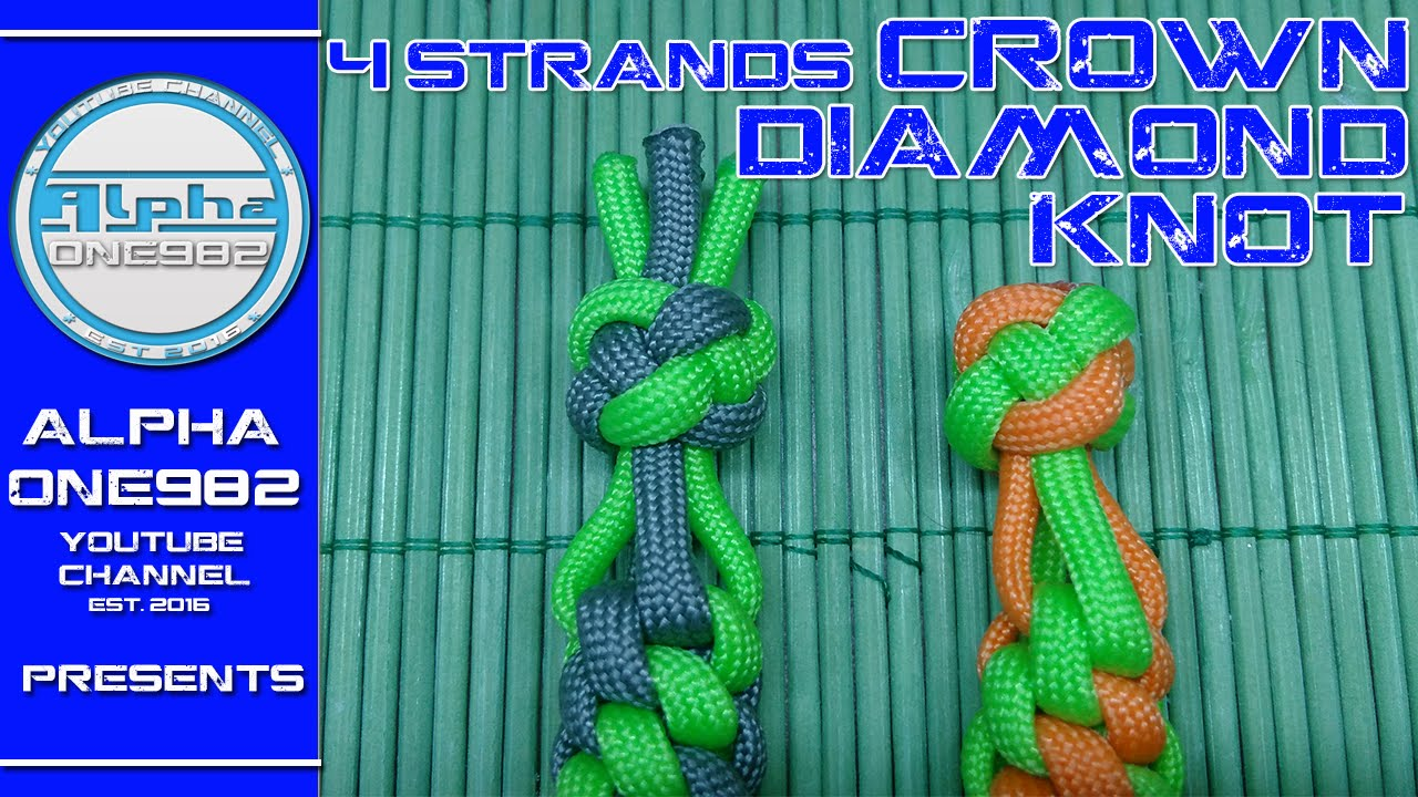 How to Make the 4 Strands Paracord Crown Diamond Knot 2017