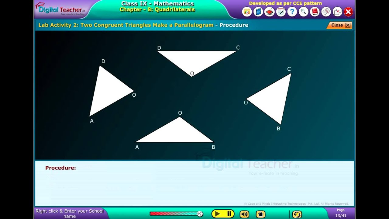 Digital Teacher Code and Pixels k12 Maths Two Congruent Triangles ...