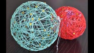 DIY. Как сделать шар из ниток и клея своими руками. Новогодний шар из ниток Мастер класс для детей