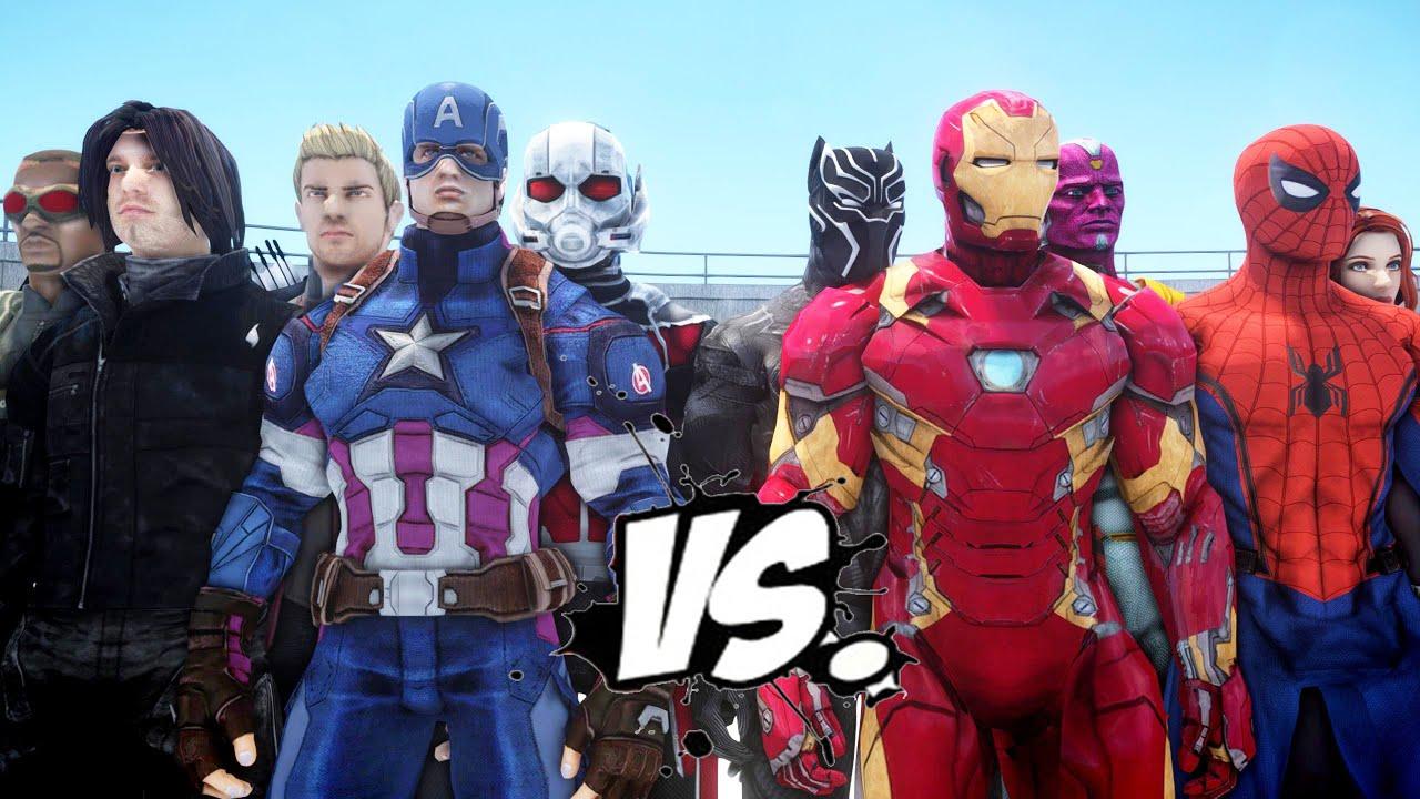 Download Team Captain America vs Team Iron Man - Civil War Battle
