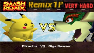 Smash Remix - Classic Mode Remix 1P Gameplay With Pikachu (VERY HARD)