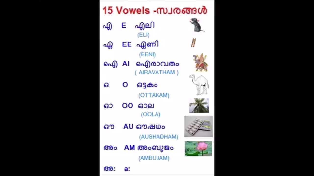 Episode 1 - Learn Malayalam Basics (മലയാളം) - Vowels