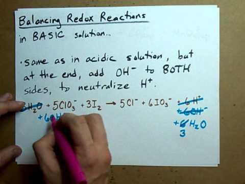 Balance A Redox Reaction Basic Solution Youtube