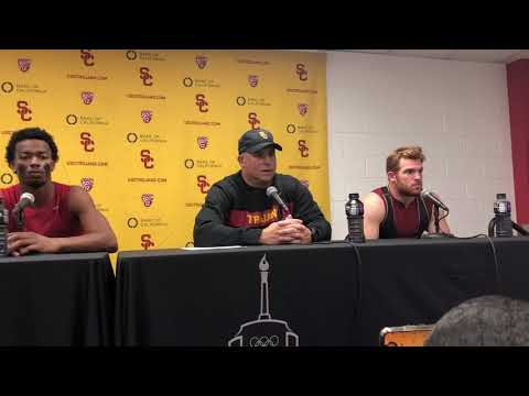 USC's Clay Helton, Tyler Vaughns, and Cam Smith talk after USC loses to Cal.