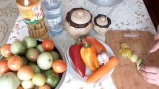 Консервирование Салат из зеленых помидор