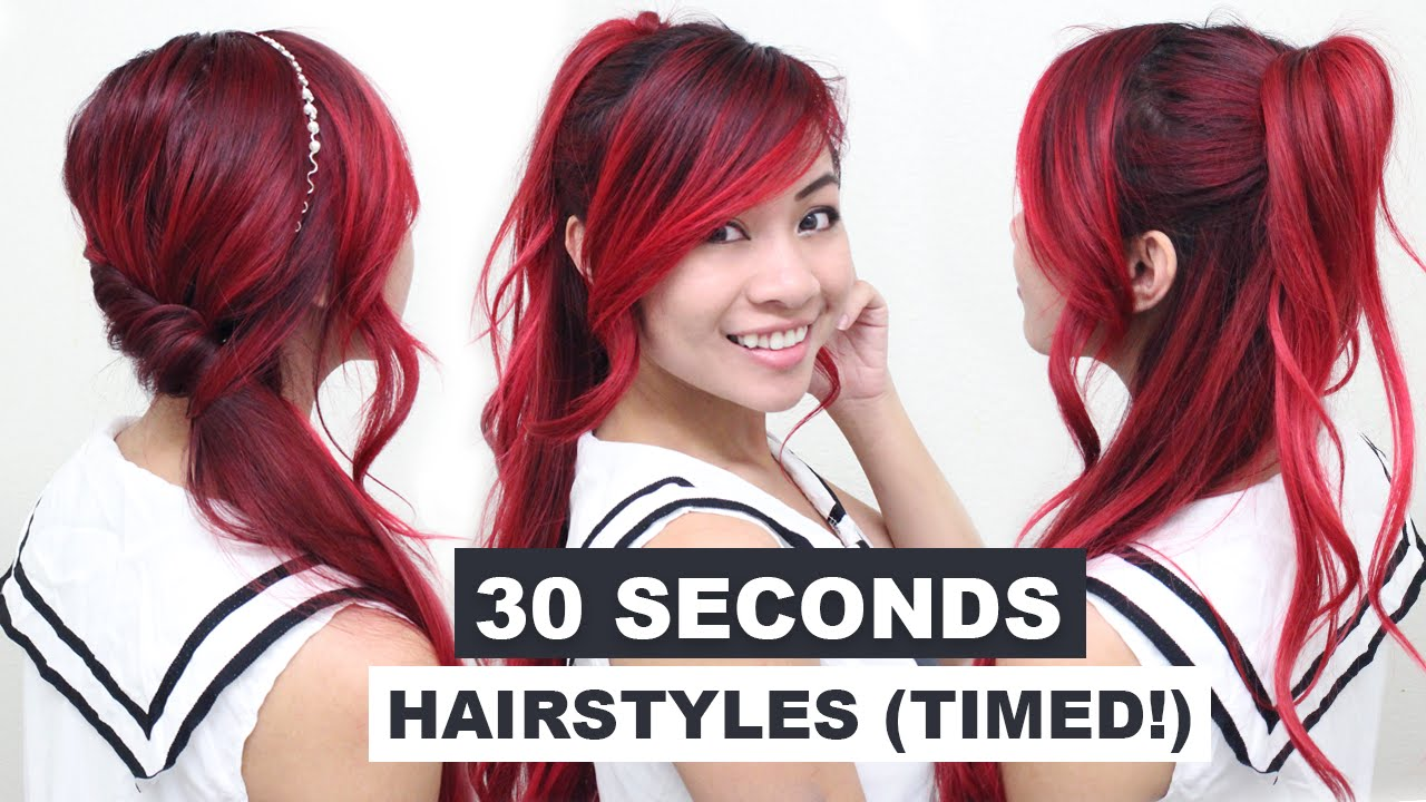 30s Hairstyle: 30 Seconds Hairstyles (TIMED!) L Running Late Hairstyles L