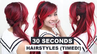 30 Seconds Hairstyles (TIMED!) l Running Late Hairstyles l Quick & Easy Hairstyles for School