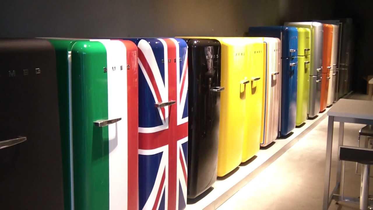Retro Smeg Koelkast : Smeg retro jaren koelkasten showroom smeg amsterdam youtube