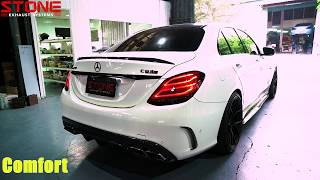 MERCEDES AMG C63S x STONE EXHAUST Cat-less Down-pipe Sound
