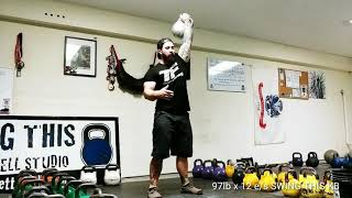 Heavy Kettlebell Snatch Form for Reps 97 lbs x 24
