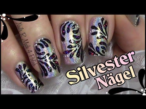 holo-silvester-nageldesign-mit-glitzer-/-new-year's-eve-nail-art-design-firework
