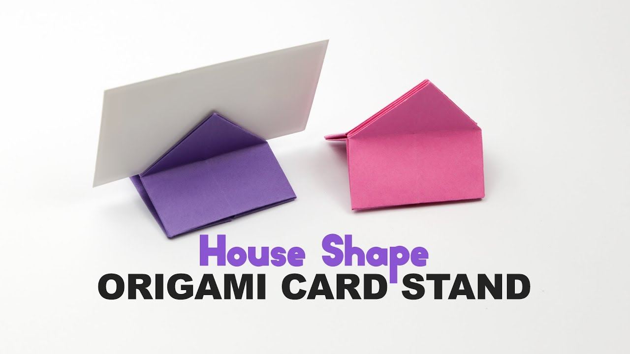 Origami Square House Shaped Card Stand Tutorial ♥ DIY