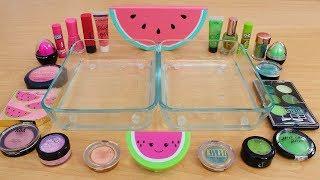 Pink vs Green - Mixing Makeup Eyeshadow Into Slime Special Series 206 Satisfying Slime Video