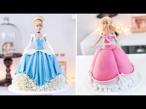 DISNEY PRINCESS   CINDERELLA - How to Make a Doll Cake - Tan Dulce