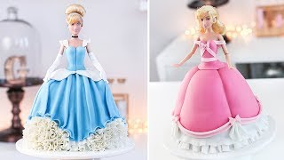 DISNEY PRINCESS  👑 CINDERELLA - How to Make a Doll Cake - Tan Dulce