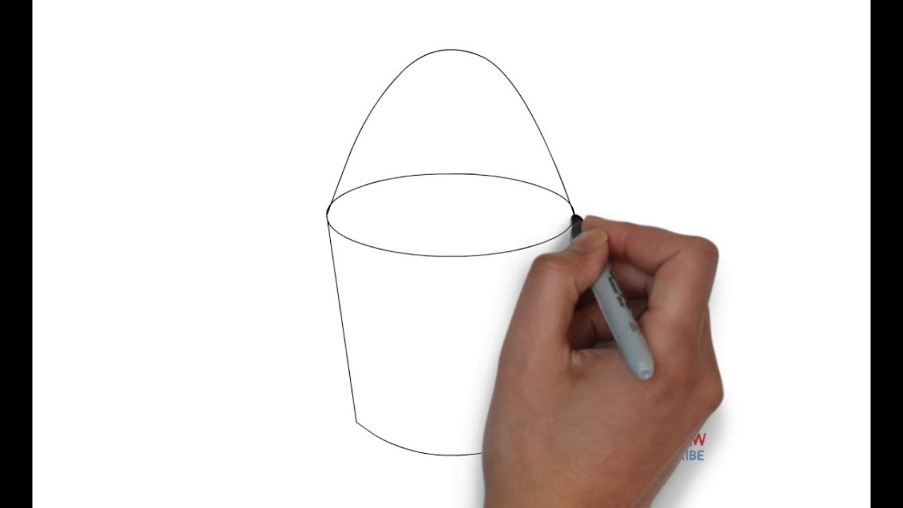 How to draw a bucket step by step for kids
