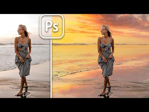 【Photoshop】空と水面反射、両方替えてみた