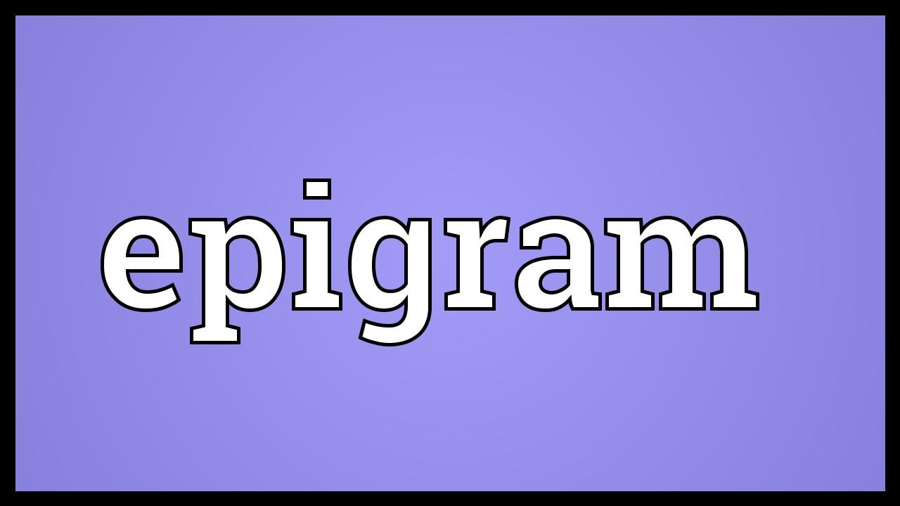 What is an epigram Meaning and Definition 66