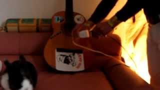 Repeat youtube video Augh costruisce stereo cassetta nella chitarra  perche´ non la sa suonare