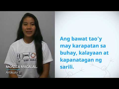 Monica Macalalad, Philippines, reading article 3 of the Universal Declaration of Human Rights