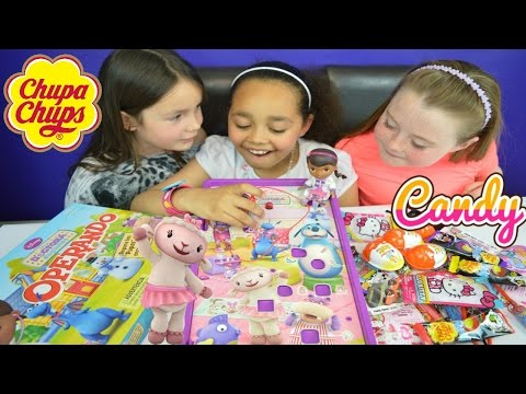 Thumbnail: Doc McStuffins Operation Game Toy Challenge | Chupa Chups Lollipops | Kinder Surprise Eggs Prizes