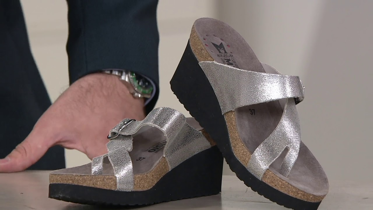a55c8656d7 MEPHISTO Nubuck Leather Slide Wedges - Tyfanie on QVC - YouTube
