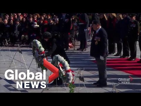Wreaths Placed On National War Memorial In Ottawa For Remembrance Day