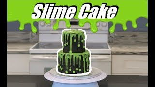 How To Make a SLIME Cake...With PITCH BLACK icing!!!  Frenchies Bakery