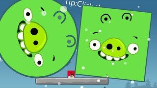 Angry Birds Kick Out Green Pigs - SMALLEST SQUARE BIRDS KICK HUGE ROUND AND SQUARE PIGGIES!