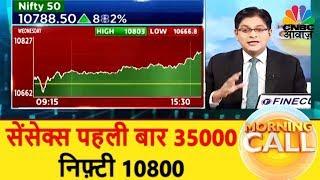 सेंसेक्स पहली बार 35000, निफ़्टी 10800 | Business News Today | 18th Jan | CNBC Awaaz